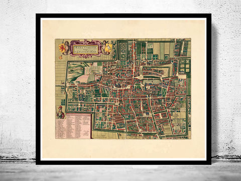 Old,Vintage,Map,of,The,Hague,Den,Haag,1695,Antique,den haag map, The hague netherlands , the hague , deen hague netherlands, the hague poster