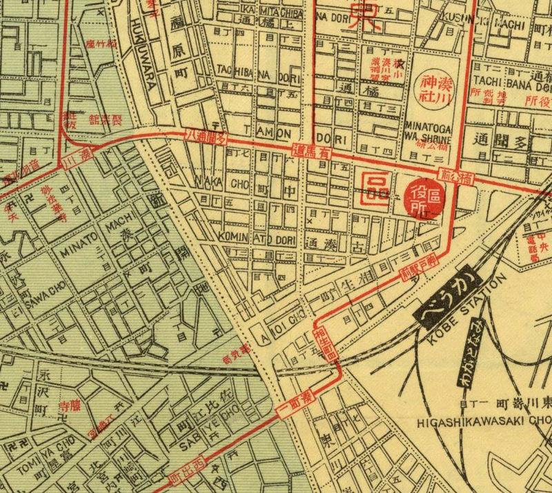 Old Map Of Kobe City Japan OLD MAPS AND VINTAGE PRINTS - Japan map 1920