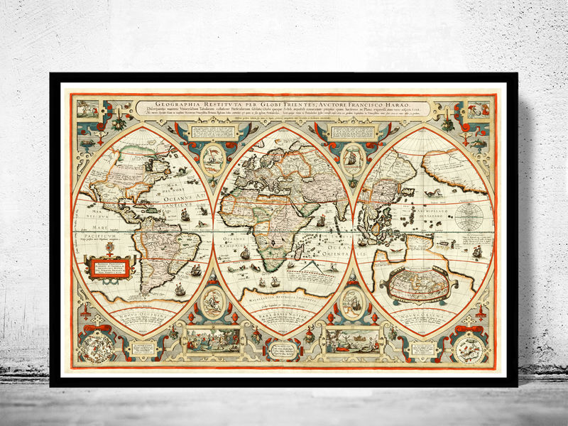 Antique World Map OLD MAPS AND VINTAGE PRINTS - Antique world map picture