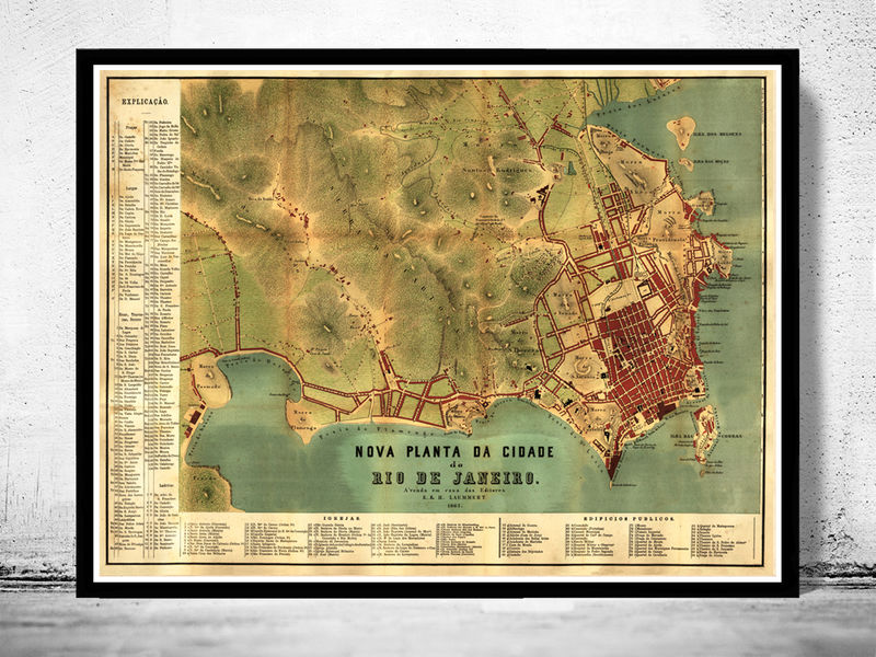 Old Map of Rio de Janeiro Brasil 1867 Vintage Map - OLD MAPS AND ...