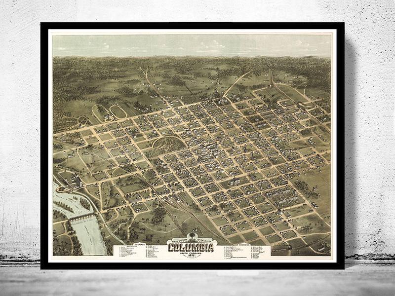 Vintage South Carolina Map.Birdseye View Vintage Map Of Columbia South Carolina Aerial View