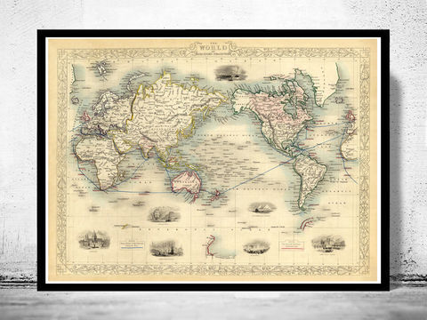 Vintage,World,Map,1851,Mercator,projection,old world map, world map, world map for sale, maps for sale, atlas, antique map, antique world map, vintage maps, old maps