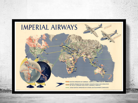 World,Map,Imperial,Airways,Vintage,Poster,imperial airways poster, world map.world map, vintage world map, old world map, vintage look map, maps and atlases
