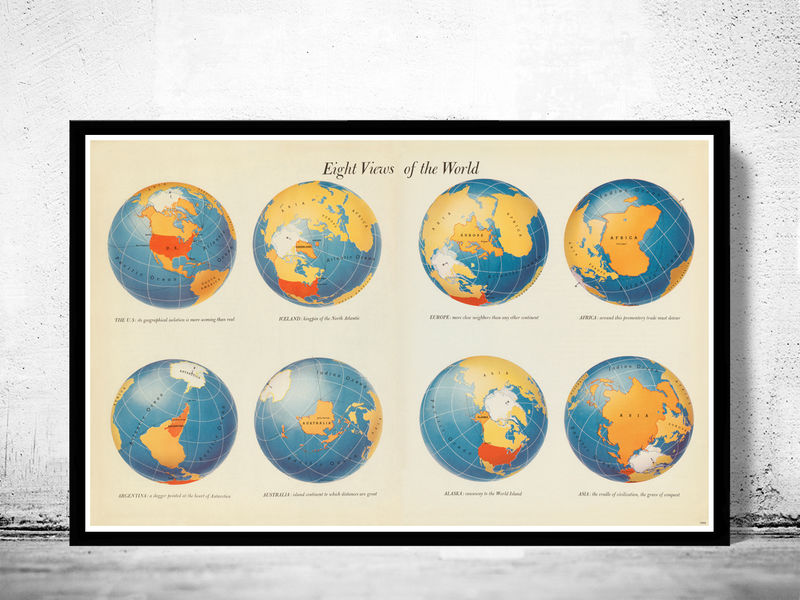 Vintage World Map in Eight Views 1944 - OLD MAPS AND VINTAGE PRINTS