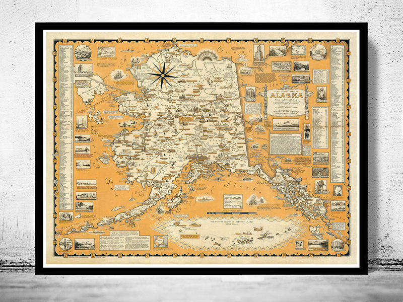 Old Map Of Alaska Pictorial Map OLD MAPS AND VINTAGE PRINTS - Old map shop