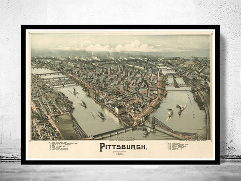 Panoramic,View,of,Pittsburgh,Pennsylvania,1902,pittsburgh, pennsylvania, map, pittsburgh map, map of pittsburg, retro, old map, vintage