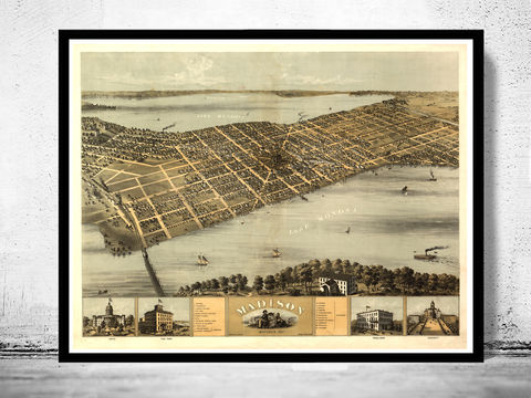 Madison,Wisconsin,1876,Panoramic,View,Vintage,madison, map of madison, madison city, madison map, madison wisconsin, panoramic view, birdseye, maps and prints, old map