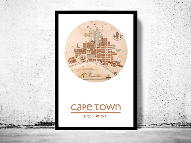 CAPE TOWN - city poster - city map poster print - OLD MAPS ...
