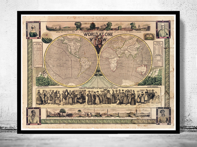 Old world map antique 1847 old maps and vintage prints old world map antique 1847 product image gumiabroncs Image collections
