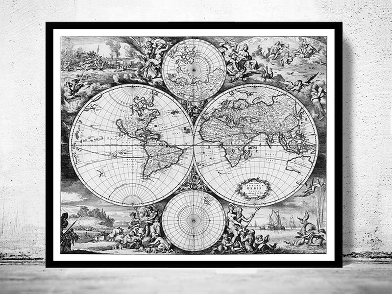 Beautiful map of the world picture frame sketch frames ideas old world map antique atlas 1668 old maps and vintage prints gumiabroncs Choice Image