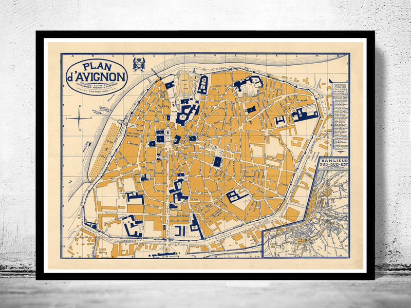 Old Map DAvignon France 1931 OLD MAPS AND VINTAGE PRINTS