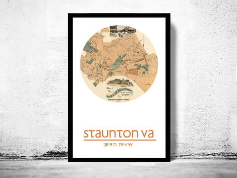 STAUNTON,VA,-,city,poster,map,print, STAUNTON print, STAUNTON poster, STAUNTON VA Poster, american art, RICHMOND, STAUNTON map, wall decor, city,maps, travel poster