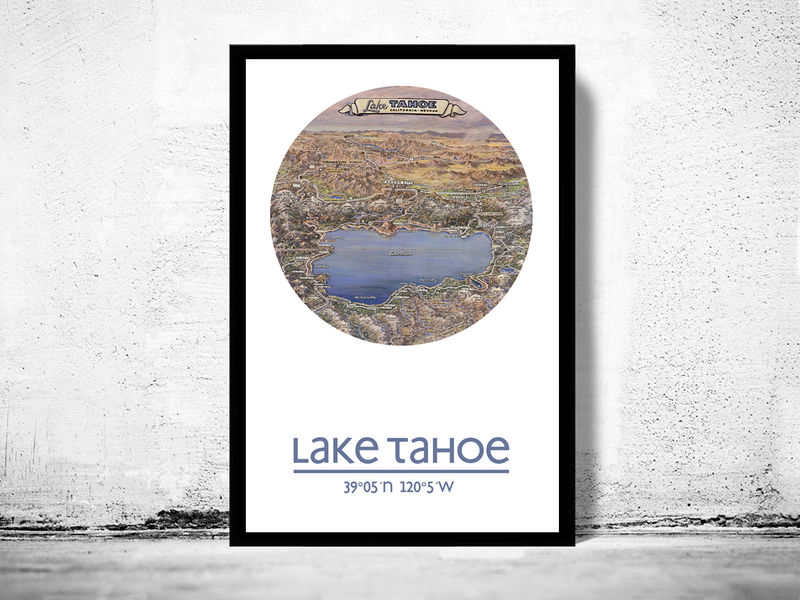 photograph regarding Printable Map of Lake Tahoe named LAKE TAHOE - metropolis poster - town map poster print