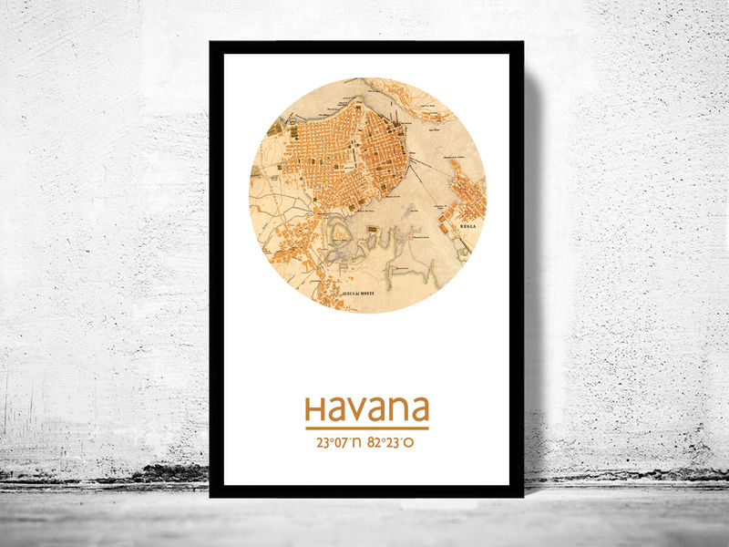 picture regarding Printable Map of Havana called HAVANA - town poster - metropolis map poster print
