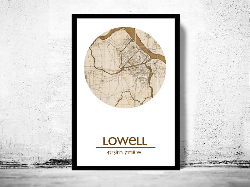 LOWELL City Poster City Map Poster Print OLD MAPS AND VINTAGE - Vintage budapest map