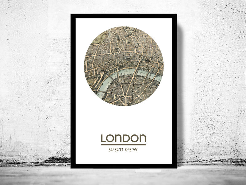 LONDON - city poster (2) - city map poster print - OLD MAPS AND ...