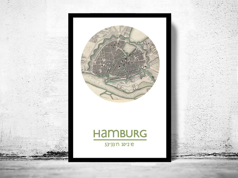 hamburg city poster city map poster print old maps and vintage prints. Black Bedroom Furniture Sets. Home Design Ideas