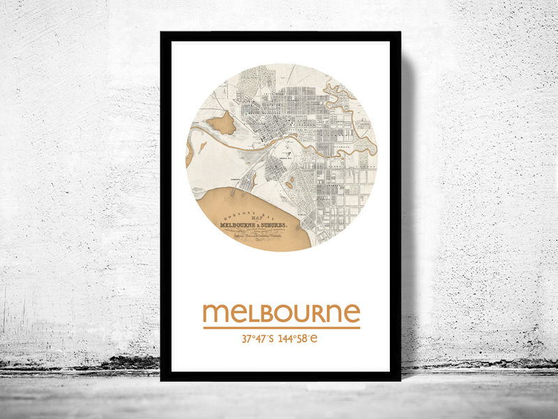 Melbourne city poster city map poster print old maps and melbourne city poster city map poster print product image gumiabroncs Gallery