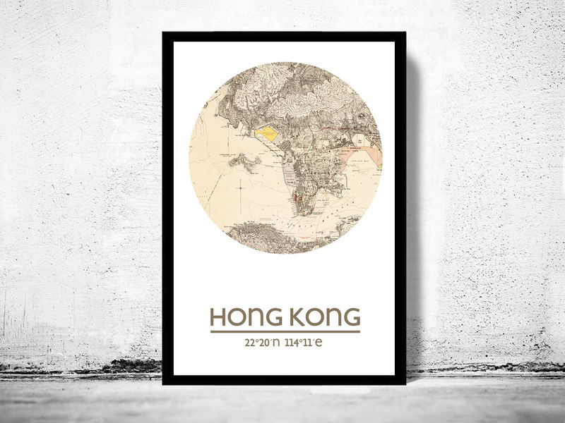 Hong kong city poster city map poster print old maps and hong kong city poster city map poster print product image gumiabroncs Choice Image