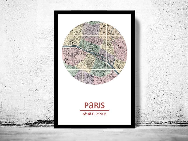 Paris City Poster Map Print Old Maps And Vintage: Paris City Map Poster At Infoasik.co