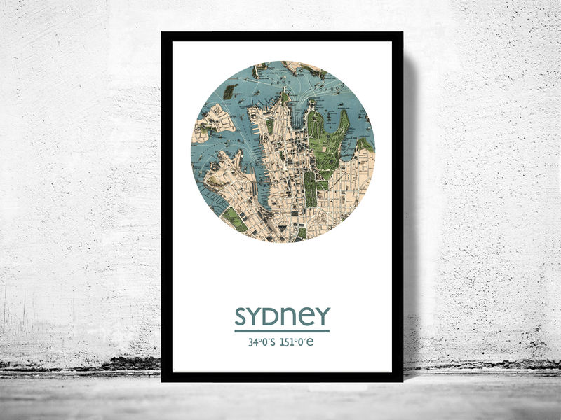 Sydney city poster city map poster print old maps and vintage sydney city poster city map poster print product image gumiabroncs Images