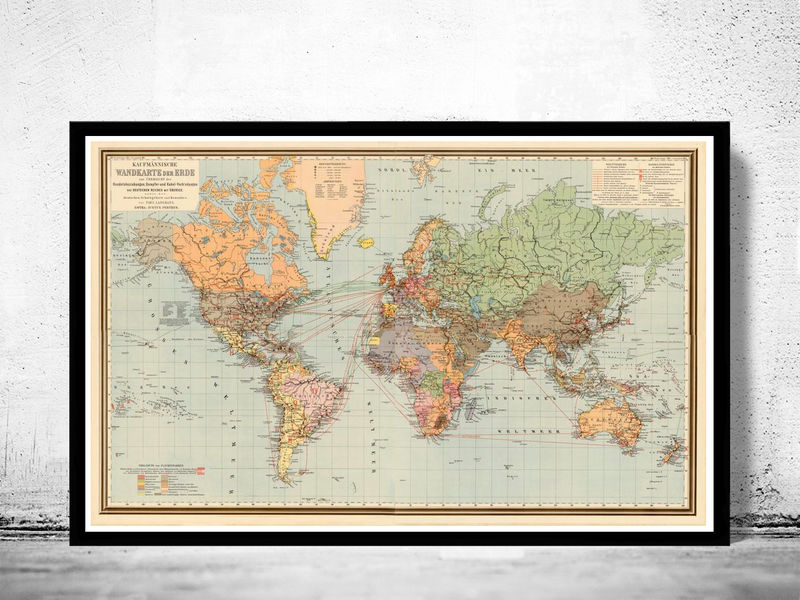 World Map Vintage Atlas 1899 German edition - OLD MAPS AND VINTAGE ...