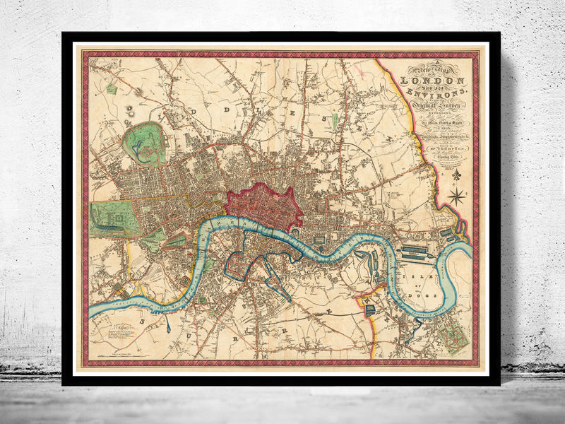 Old London Map England United Kingdom OLD MAPS AND VINTAGE - Old map shop london