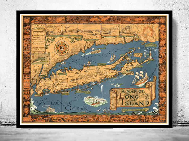Vintage Map of Long Island - OLD MAPS AND VINTAGE PRINTS