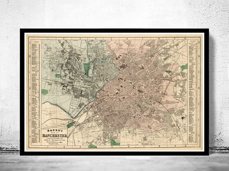 Old Map Of Manchester And Salford OLD MAPS AND VINTAGE PRINTS - Old map shop london