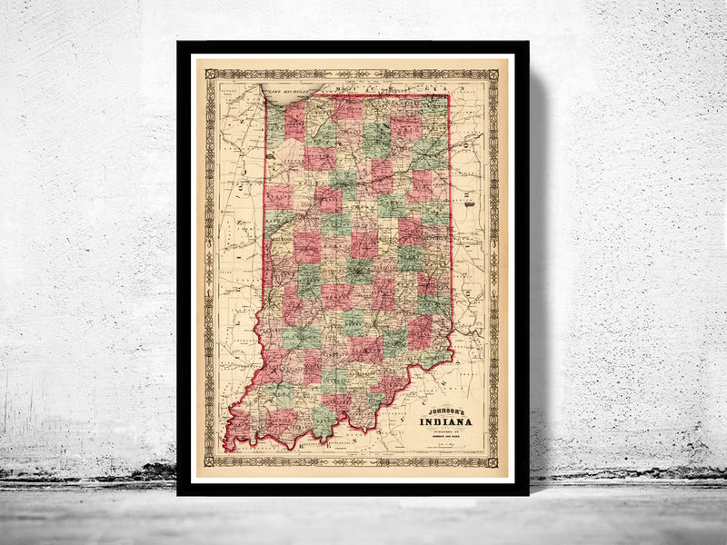 Old Map Indiana State United States Of America OLD MAPS AND - How old is the united states of america