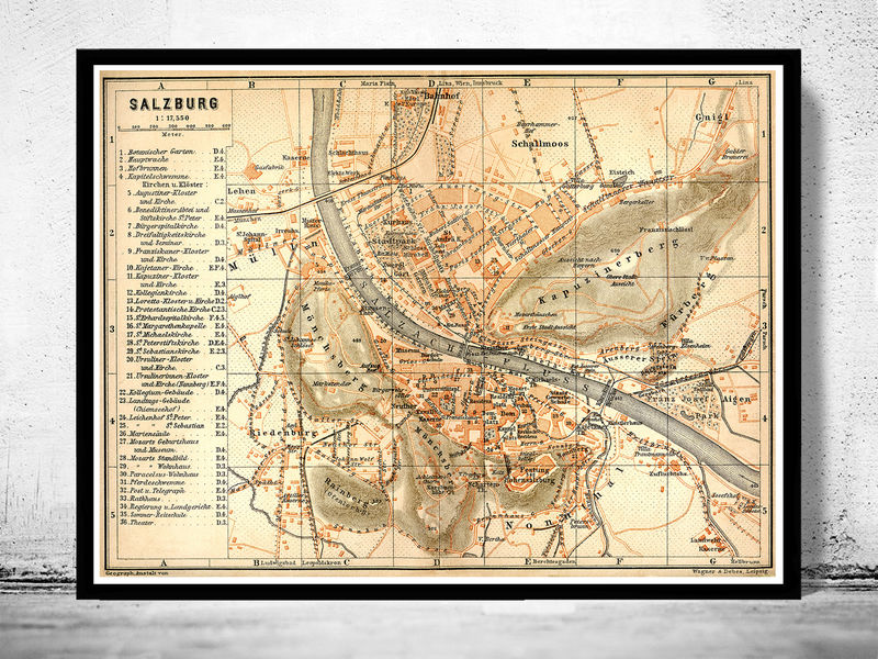 Old map of salzburg austria 1909 old maps and vintage prints old map of salzburg austria 1909 product image gumiabroncs Images