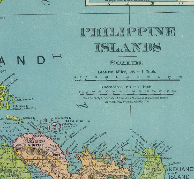 Old Map of Philippine Islands Philippines 1903