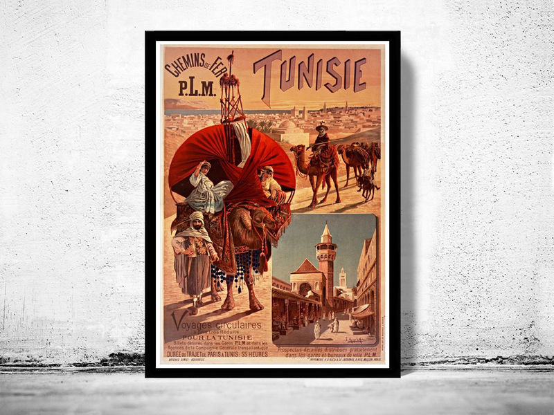 Vintage Poster Of Tunisie Tunisia 1891 Tourism Travel