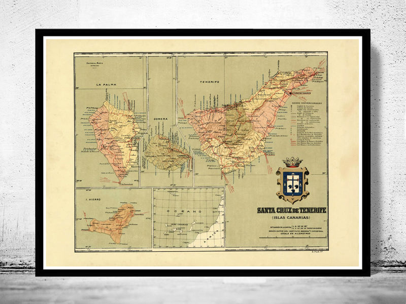 Old Map of Tenerife Canary Islands 1900 - OLD MAPS AND VINTAGE PRINTS
