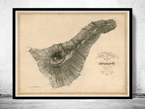 Old,Map,of,Tenerife,Canary,Islands,1831,Vintage map  , vintage poster  , old map  , portugal , canarias  , tenerife  , tenerife map  , map of tenerife , mapa  , tenerife poster  , spain  , spanish map