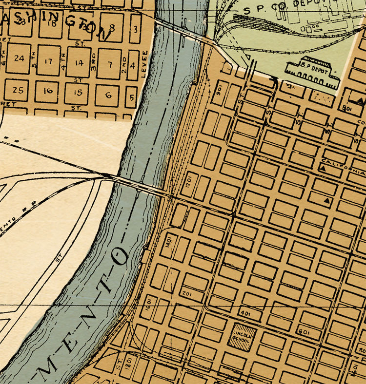 Old map Sacramento California 1920 - OLD MAPS AND VINTAGE PRINTS Map Of Sacramento California on