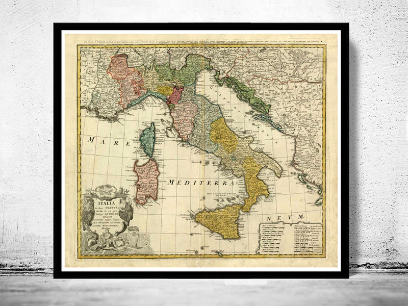Old Map Of Italy 1742 Italia Old Maps And Vintage Prints