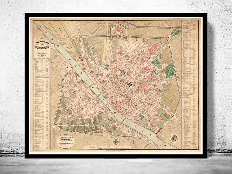 Beautiful map of florence firenze 1850 antique vintage italy old beautiful map of florence firenze 1850 antique vintage italy product image gumiabroncs Choice Image