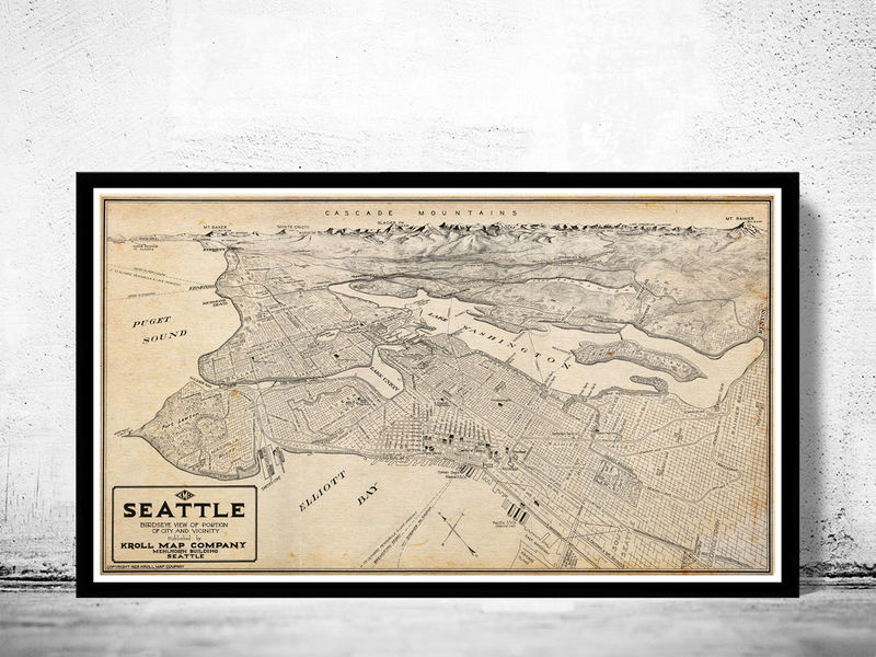 Old Map Of Seattle Washington OLD MAPS AND VINTAGE PRINTS - The old map company