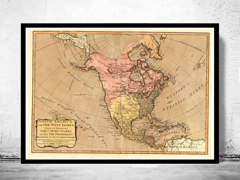 Old Map Of North America Antique United States Canada OLD - United states map picture frame