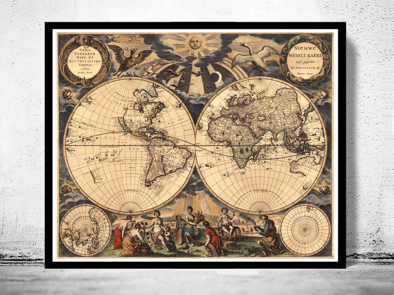 Old World Map Antique 1666   Product Image