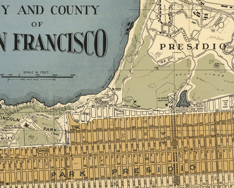 Old Map Of San Francisco 1920 Old Maps And Vintage Prints