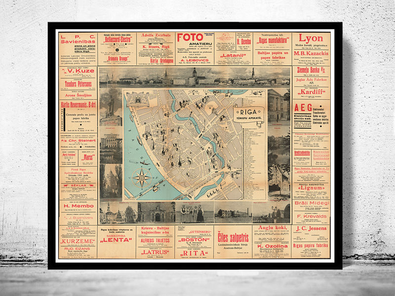 Old Map of Riga Latvia OLD MAPS AND VINTAGE PRINTS