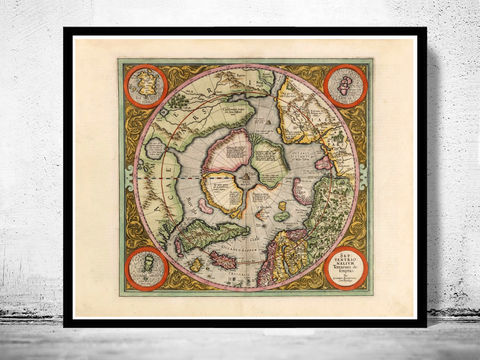 Old,Map,of,North,Pole,1609,north pole, north pole map, artic regions, antique map, antique north pole, north pole poster