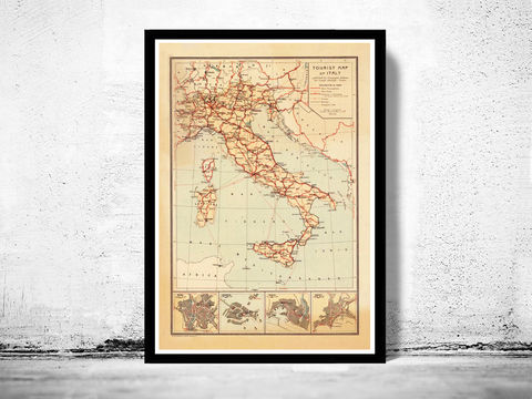 Old,Map,of,Italy,Touristic,italia,1931,antique map, old map,Art,Reproduction,Open_Edition, italy map, map of italy,italy,italie,mediterranean_sea,Vintage_map,vintage_poster,old_map,old_map_of_italy,antique_map_italy,map_poster