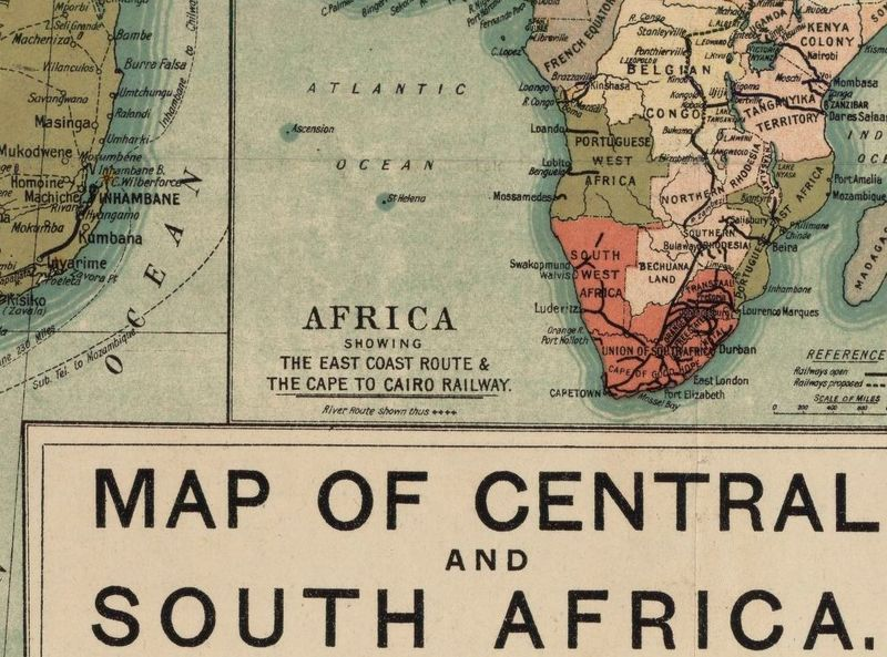 Old Map Of South Africa 1924 Central Africa Angola Mozambique Old