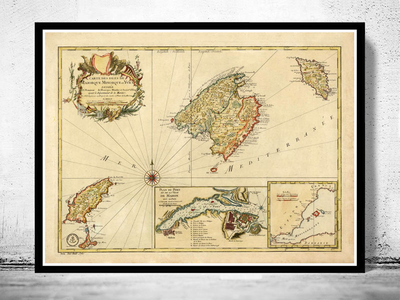 Old Map of majorca minorca balearic islands 1756 OLD MAPS AND