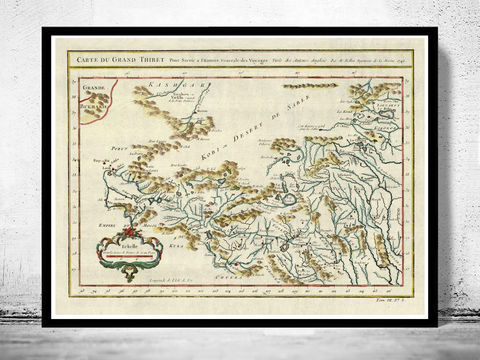 Old,Map,of,Tibet,1747,China,tibet, tibet poster, old map of tibet, tibet old map, tibet map, tibet china