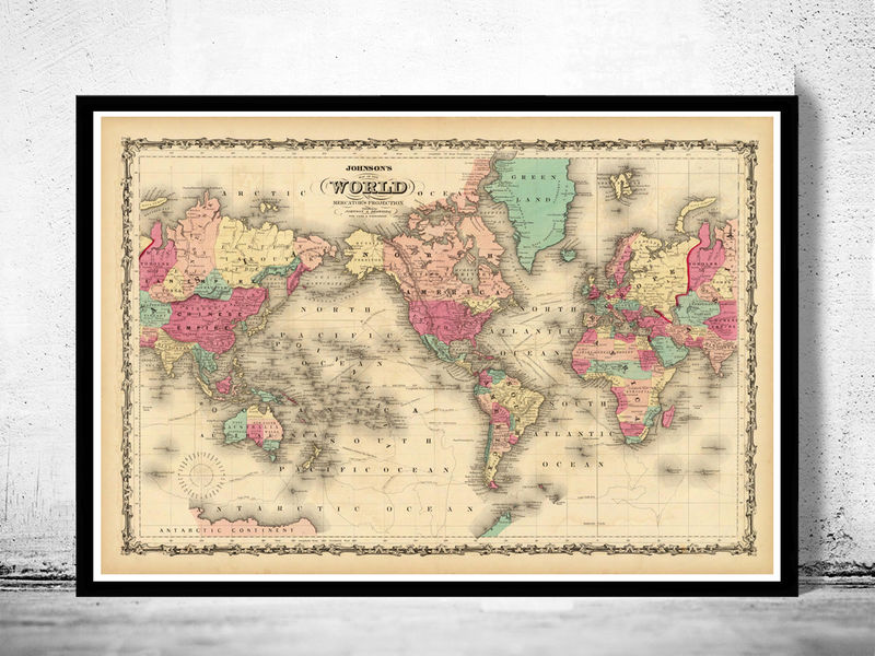 vintage world map 1860 mercator projection old maps and vintage prints. Black Bedroom Furniture Sets. Home Design Ideas