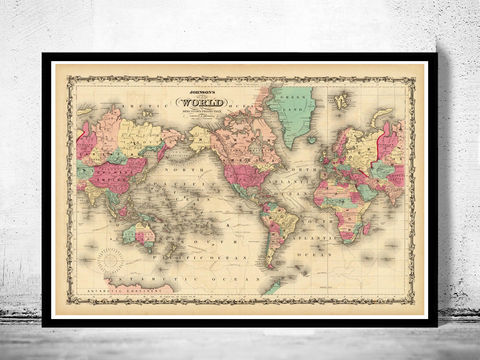 Vintage,World,Map,1860,Mercator,projection,Art,Reproduction,Open_Edition,World_map,old_map,antique,atlas,discoveries,explorations,vintage_poster,city_plan,earth_atlas,map_of_the_world,world_map_poster,old_world,vintage_world_map, antique world map, world map, vintafge world map, hiistoric map